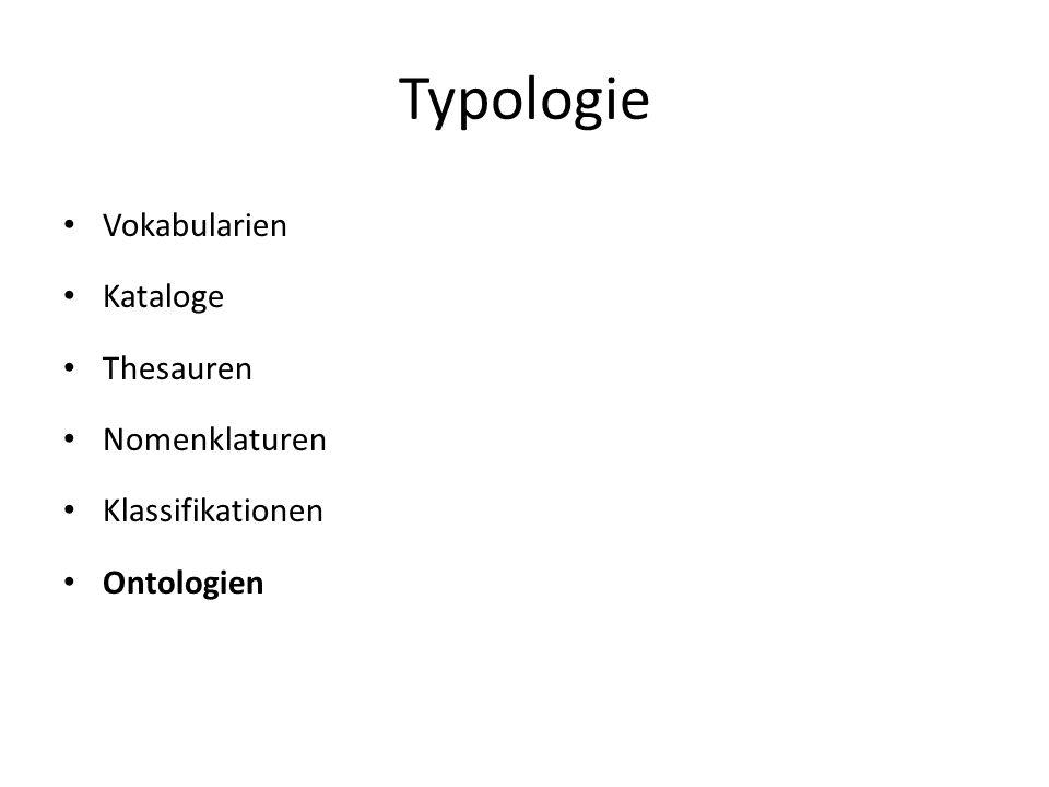 Typologie Vokabularien Kataloge Thesauren Nomenklaturen Klassifikationen Ontologien