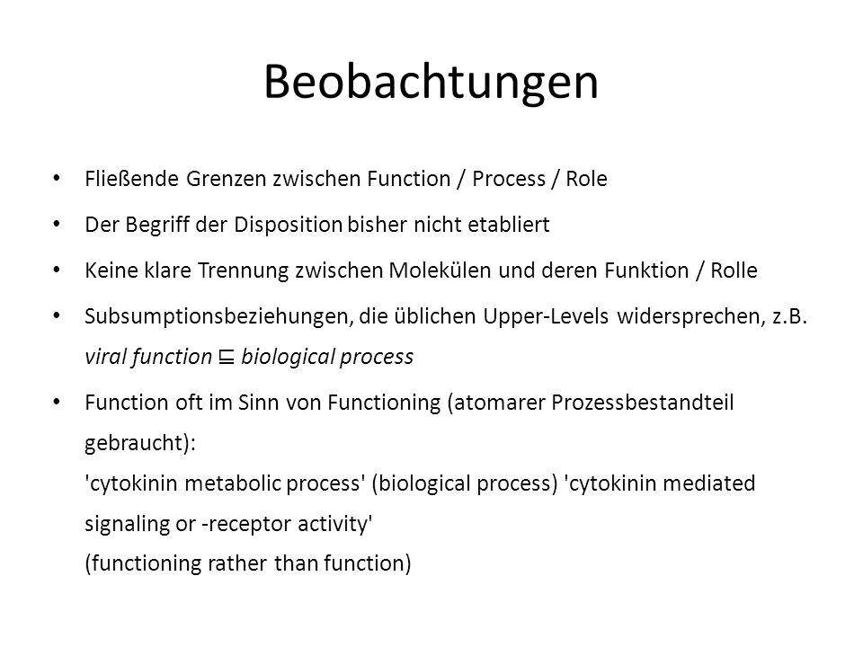 Beobachtungen Fließende Grenzen zwischen Function / Process / Role Der Begriff der Disposition bisher nicht etabliert Keine klare Trennung zwischen Molekülen und deren Funktion / Rolle Subsumptionsbeziehungen, die üblichen Upper-Levels widersprechen, z.B.