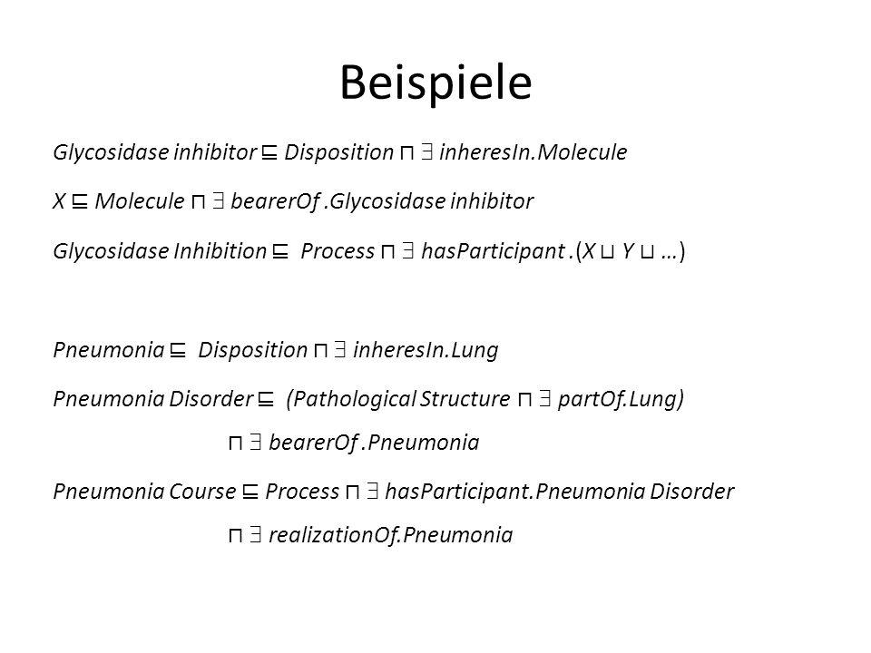 Beispiele Glycosidase inhibitor Disposition inheresIn.Molecule X Molecule bearerOf.Glycosidase inhibitor Glycosidase Inhibition Process hasParticipant