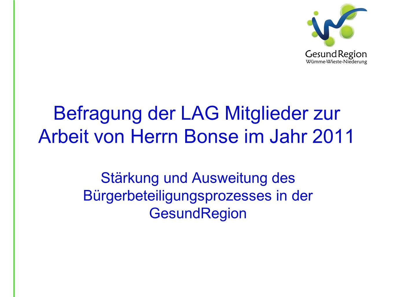 Befragung der LAG Mitglieder zur Arbeit von Herrn Bonse im Jahr 2011 Stärkung und Ausweitung des Bürgerbeteiligungsprozesses in der GesundRegion