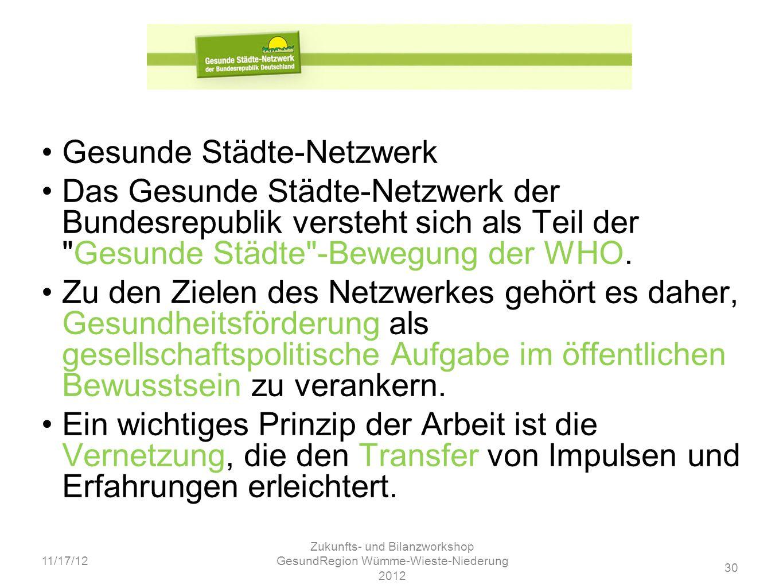 30 11/17/12 Zukunfts- und Bilanzworkshop GesundRegion Wümme-Wieste-Niederung 2012 Gesunde Städte-Netzwerk Das Gesunde Städte-Netzwerk der Bundesrepubl