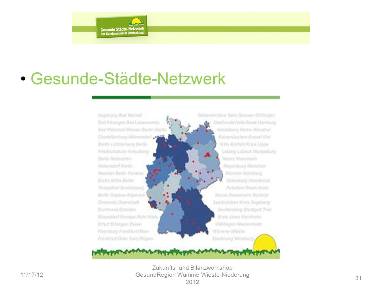 31 11/17/12 Zukunfts- und Bilanzworkshop GesundRegion Wümme-Wieste-Niederung 2012 Gesunde-Städte-Netzwerk