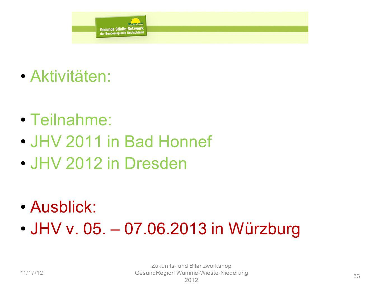 33 11/17/12 Zukunfts- und Bilanzworkshop GesundRegion Wümme-Wieste-Niederung 2012 Aktivitäten: Teilnahme: JHV 2011 in Bad Honnef JHV 2012 in Dresden A