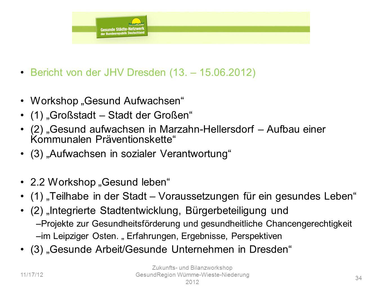 34 11/17/12 Zukunfts- und Bilanzworkshop GesundRegion Wümme-Wieste-Niederung 2012 Bericht von der JHV Dresden (13. – 15.06.2012) Workshop Gesund Aufwa