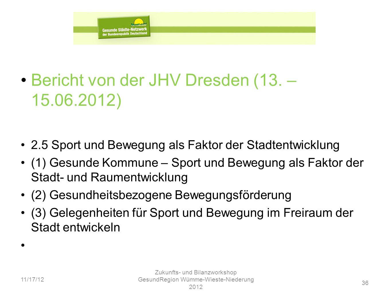 36 11/17/12 Zukunfts- und Bilanzworkshop GesundRegion Wümme-Wieste-Niederung 2012 Bericht von der JHV Dresden (13. – 15.06.2012) 2.5 Sport und Bewegun
