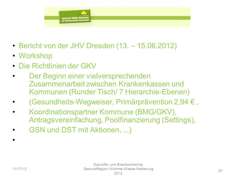 37 11/17/12 Zukunfts- und Bilanzworkshop GesundRegion Wümme-Wieste-Niederung 2012 Bericht von der JHV Dresden (13. – 15.06.2012) Workshop Die Richtlin