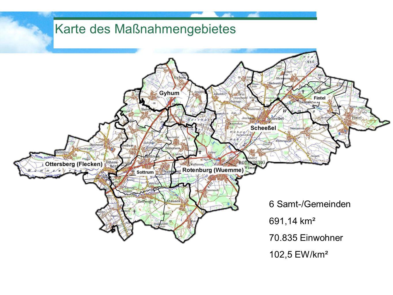 Karte des Maßnahmengebietes 6 Samt-/Gemeinden 691,14 km² 70.835 Einwohner 102,5 EW/km²