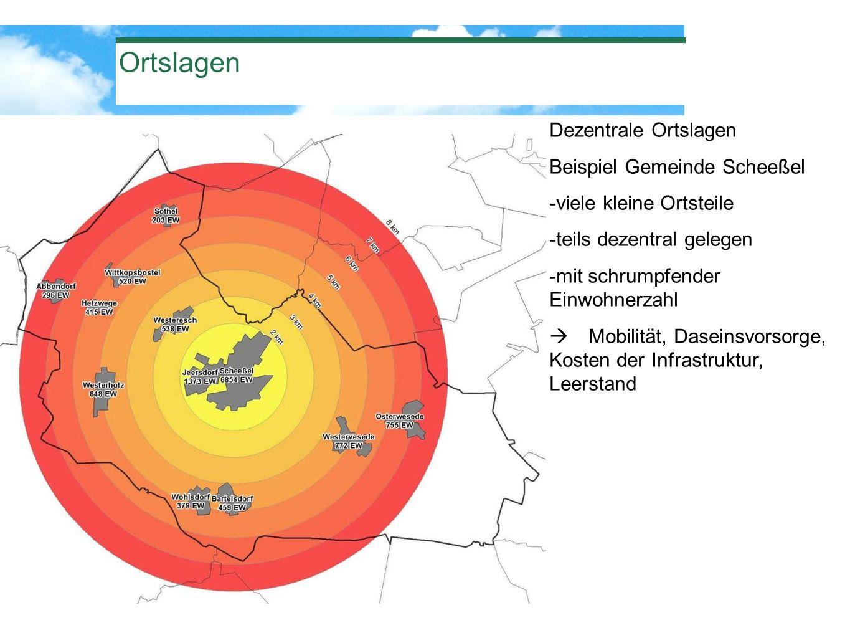 Ortslagen Dezentrale Ortslagen Beispiel Gemeinde Scheeßel -viele kleine Ortsteile -teils dezentral gelegen -mit schrumpfender Einwohnerzahl Mobilität,