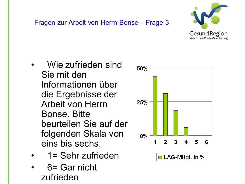 Fragen zur Arbeit von Herrn Bonse – Frage 3 Wie zufrieden sind Sie mit den Informationen über die Ergebnisse der Arbeit von Herrn Bonse. Bitte beurtei