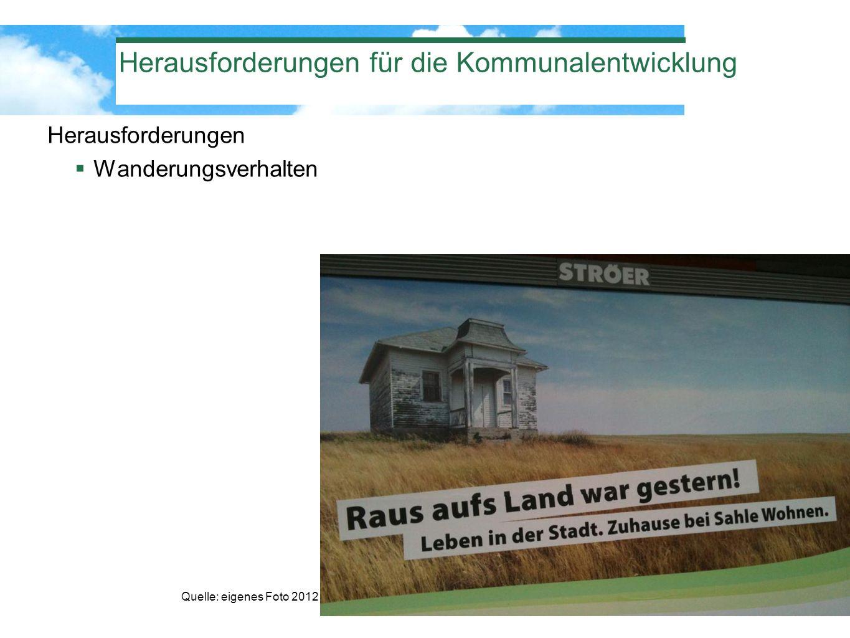 Herausforderungen für die Kommunalentwicklung Herausforderungen Wanderungsverhalten Quelle: eigenes Foto 2012