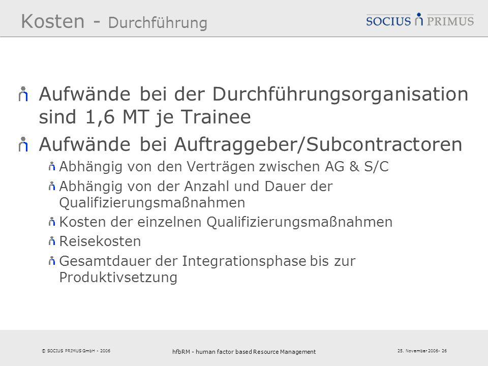 © SOCIUS PRIMUS GmbH - 2006 25. November 2006- 26 hfbRM - human factor based Resource Management 26 Kosten - Durchführung Aufwände bei der Durchführun