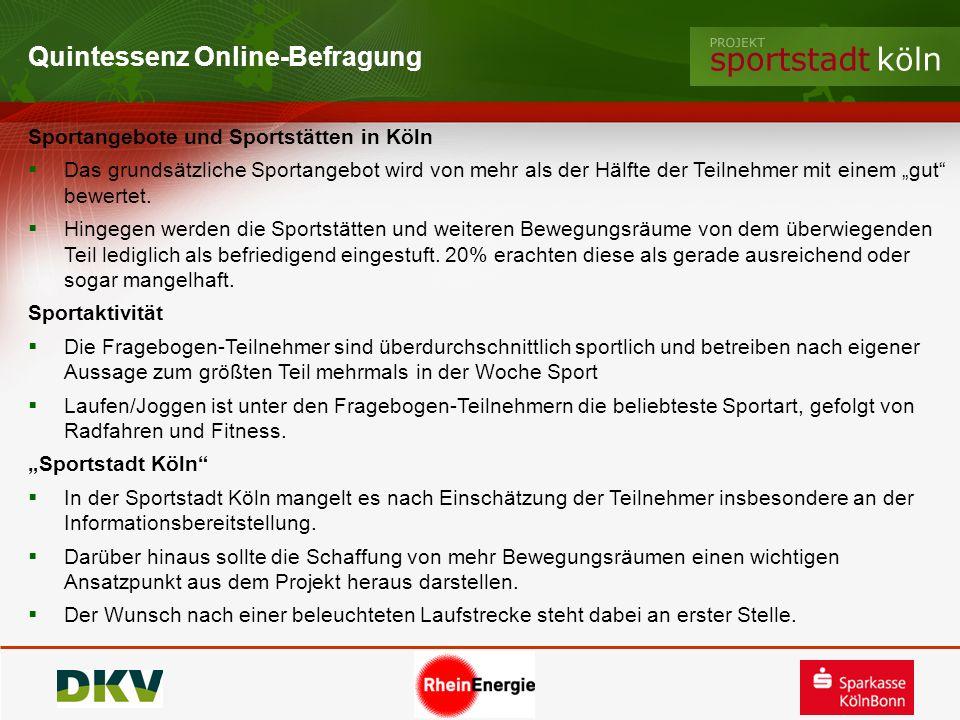 Quintessenz Online-Befragung Sportangebote und Sportstätten in Köln Das grundsätzliche Sportangebot wird von mehr als der Hälfte der Teilnehmer mit ei