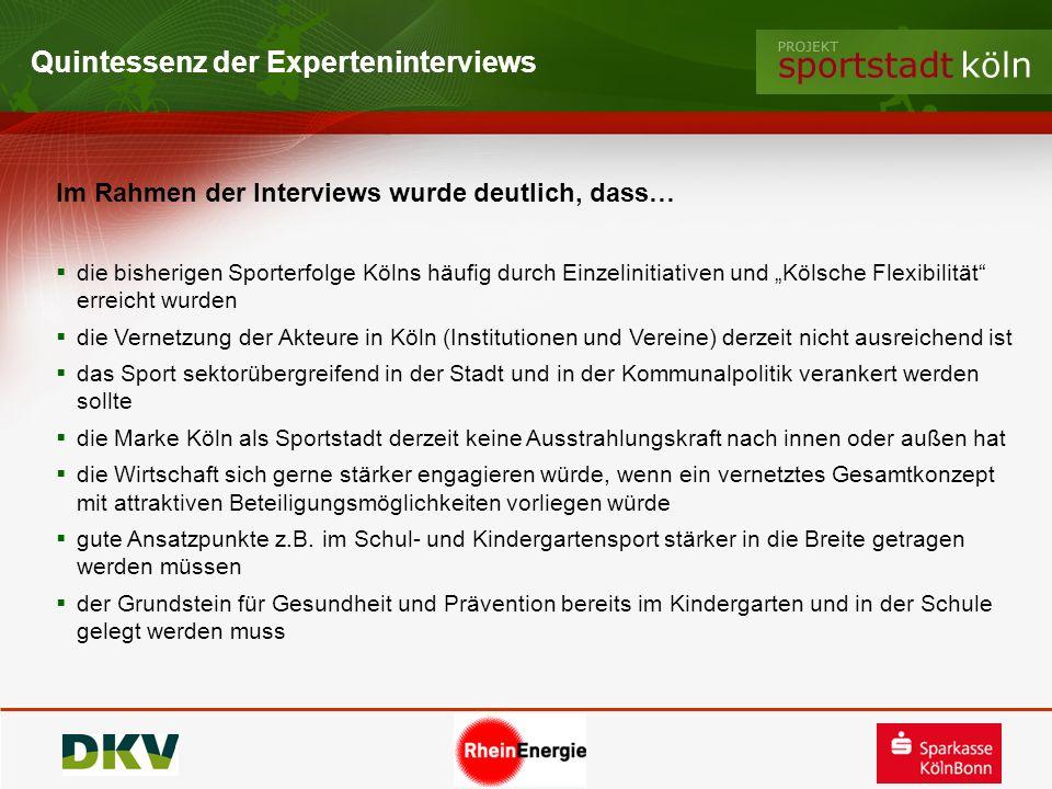 Quintessenz der Experteninterviews Im Rahmen der Interviews wurde deutlich, dass… die bisherigen Sporterfolge Kölns häufig durch Einzelinitiativen und