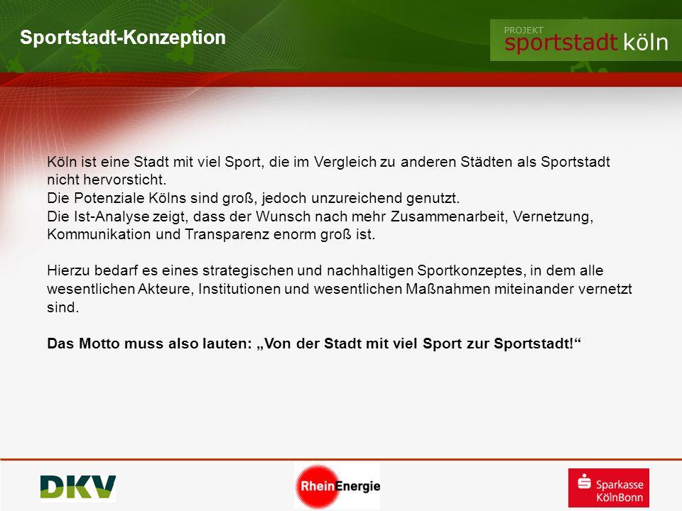 Sportstadt-Konzeption Köln ist eine Stadt mit viel Sport, die im Vergleich zu anderen Städten als Sportstadt nicht hervorsticht. Die Potenziale Kölns