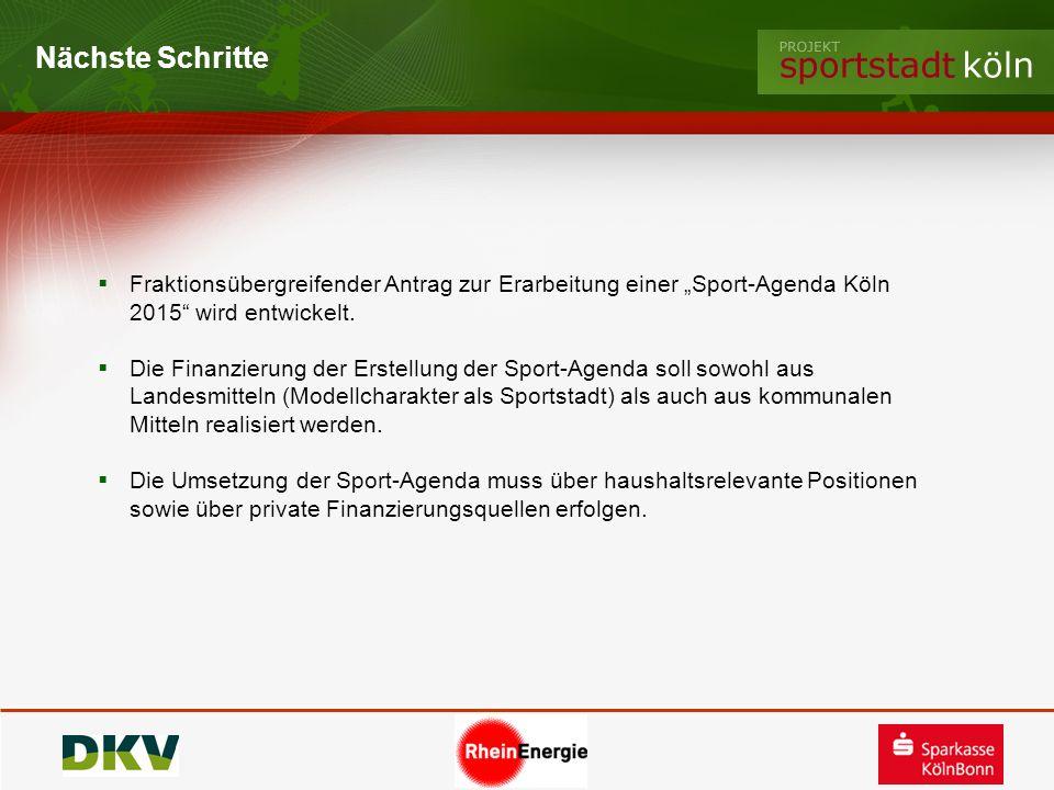 Nächste Schritte Fraktionsübergreifender Antrag zur Erarbeitung einer Sport-Agenda Köln 2015 wird entwickelt. Die Finanzierung der Erstellung der Spor