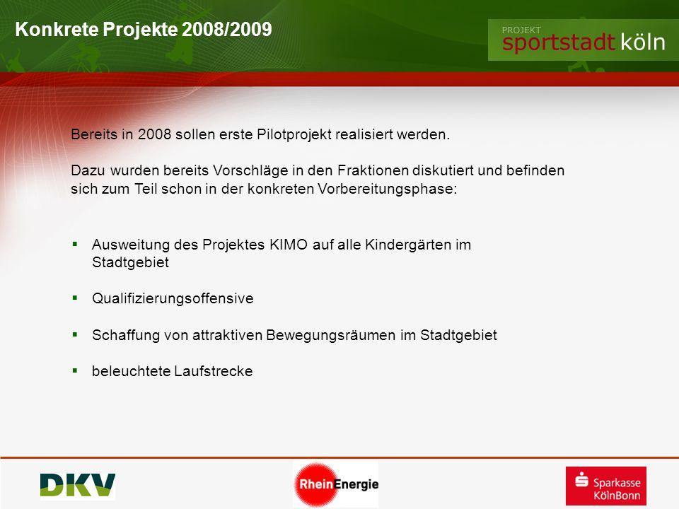 Konkrete Projekte 2008/2009 Ausweitung des Projektes KIMO auf alle Kindergärten im Stadtgebiet Qualifizierungsoffensive Schaffung von attraktiven Bewe