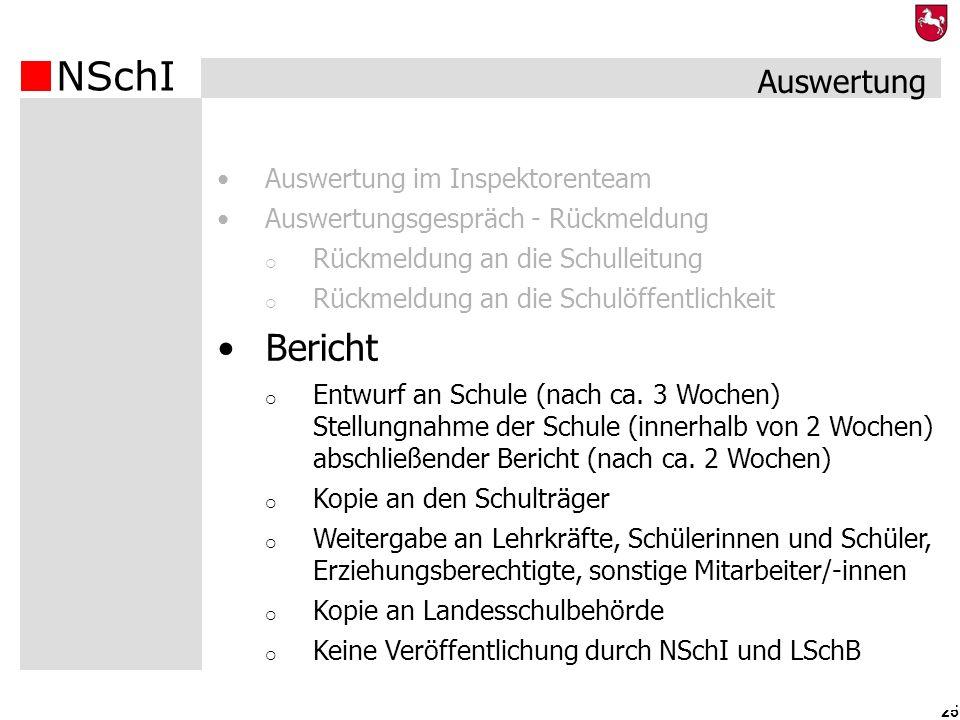 NSchI 25 Auswertung im Inspektorenteam Auswertungsgespräch - Rückmeldung Rückmeldung an die Schulleitung Rückmeldung an die Schulöffentlichkeit Berich