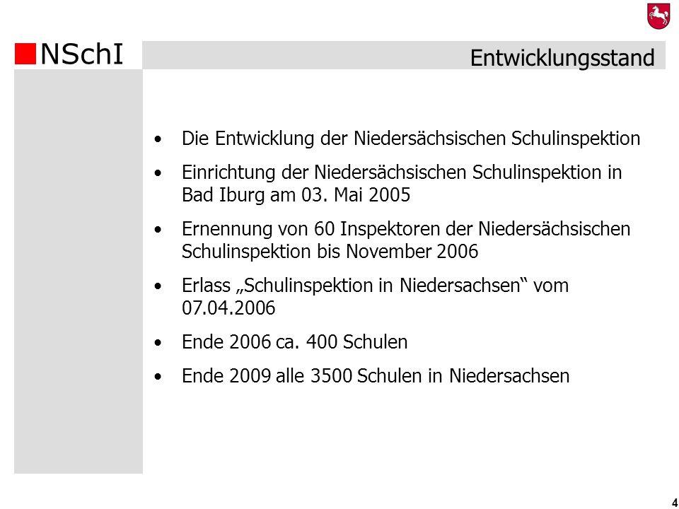 NSchI 4 Die Entwicklung der Niedersächsischen Schulinspektion Einrichtung der Niedersächsischen Schulinspektion in Bad Iburg am 03. Mai 2005 Ernennung