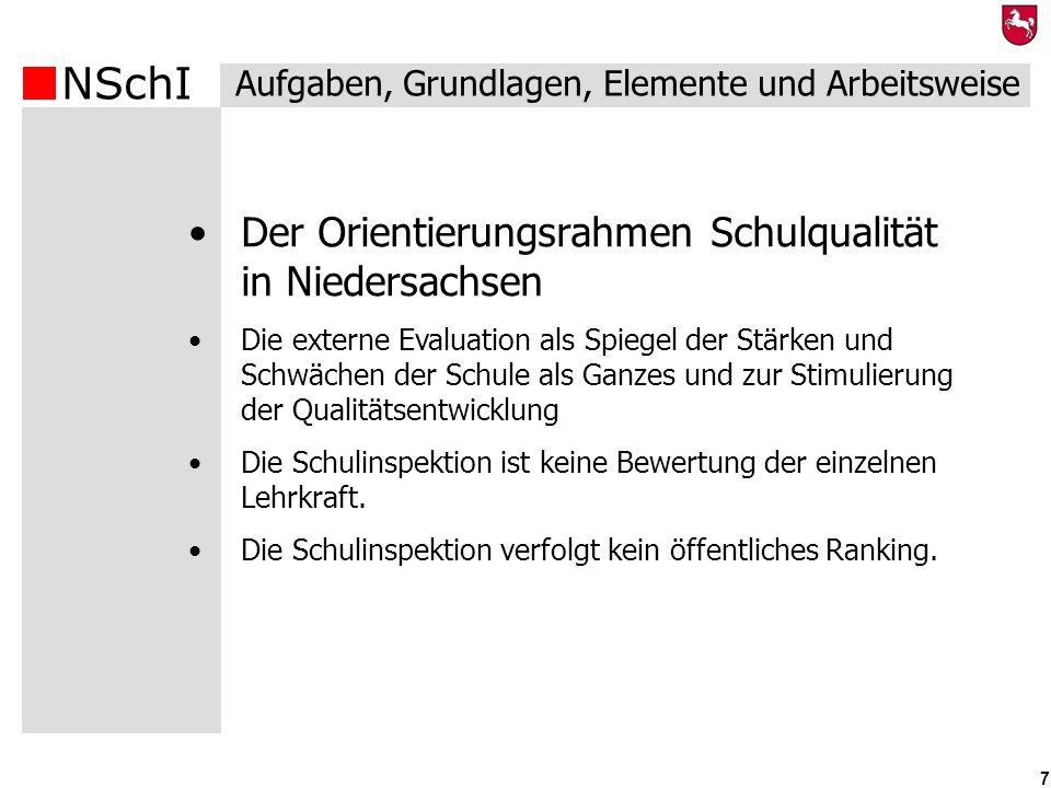 NSchI 7 Der Orientierungsrahmen Schulqualität in Niedersachsen Die externe Evaluation als Spiegel der Stärken und Schwächen der Schule als Ganzes und