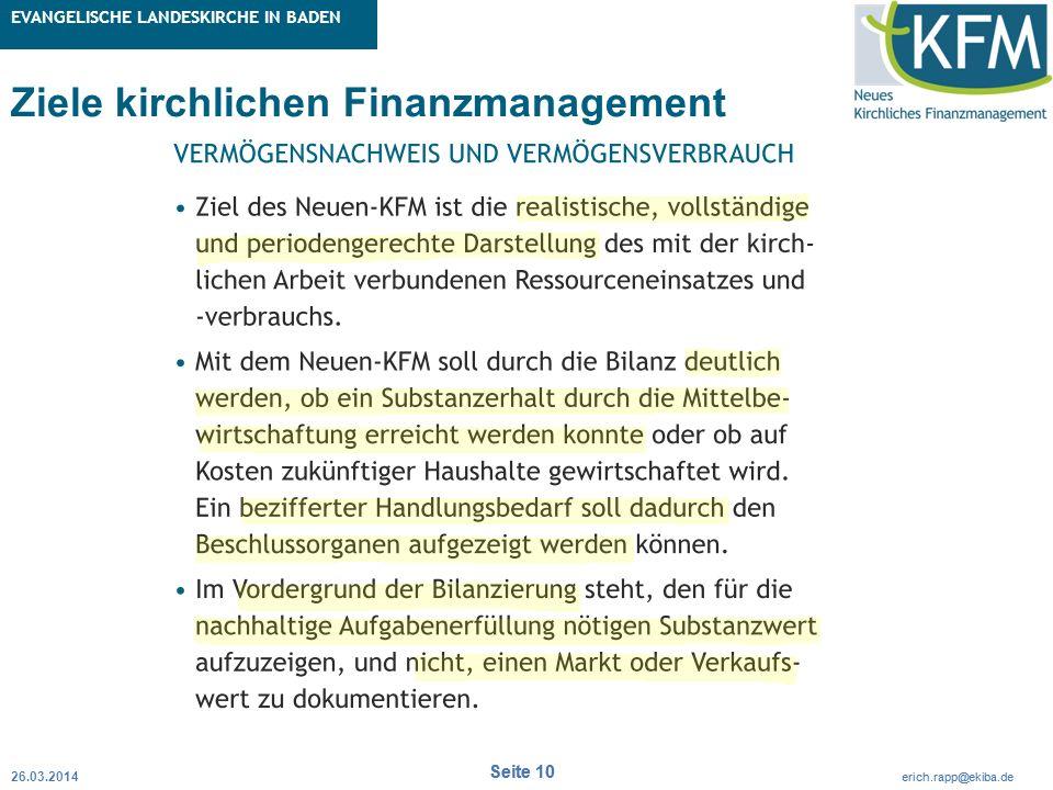 Rubrik / Übergeordnetes Thema Projekt Erweiterte Betriebskameralistik Seite 10 erich.rapp@ekiba.de Rubrik / Übergeordnetes Thema EVANGELISCHE LANDESKI