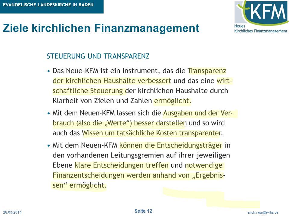 Rubrik / Übergeordnetes Thema Projekt Erweiterte Betriebskameralistik Seite 12 erich.rapp@ekiba.de Rubrik / Übergeordnetes Thema EVANGELISCHE LANDESKI