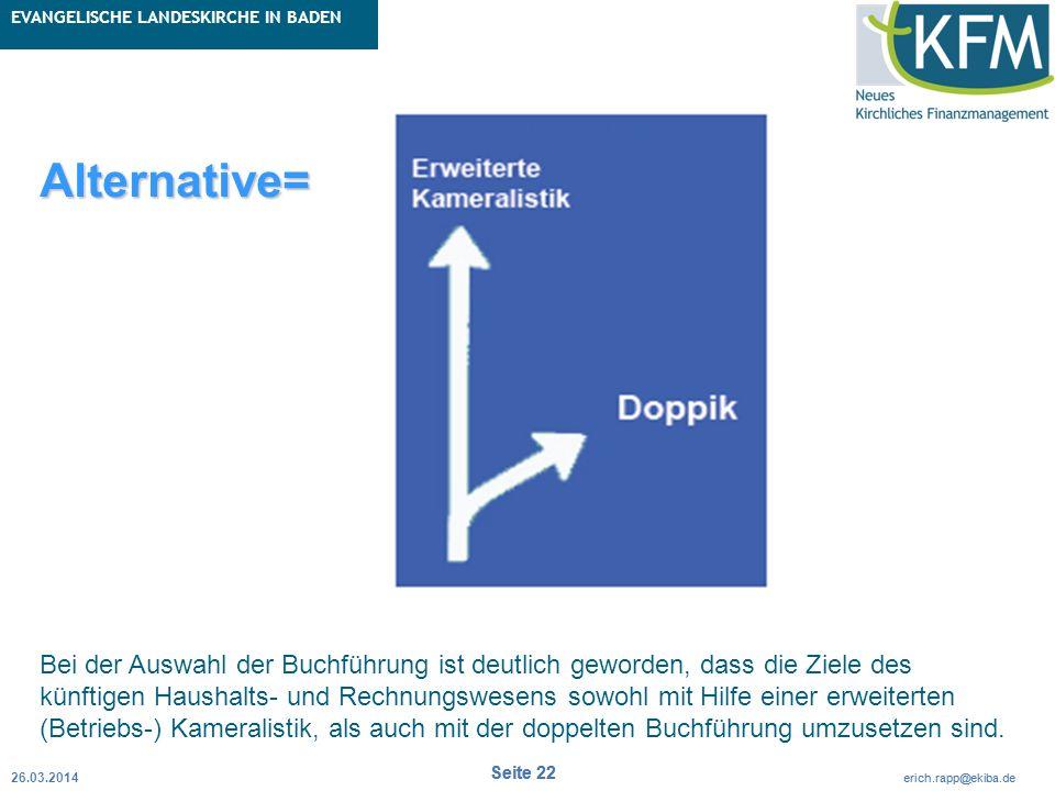 Rubrik / Übergeordnetes Thema Projekt Erweiterte Betriebskameralistik Seite 22 erich.rapp@ekiba.de Rubrik / Übergeordnetes Thema EVANGELISCHE LANDESKI