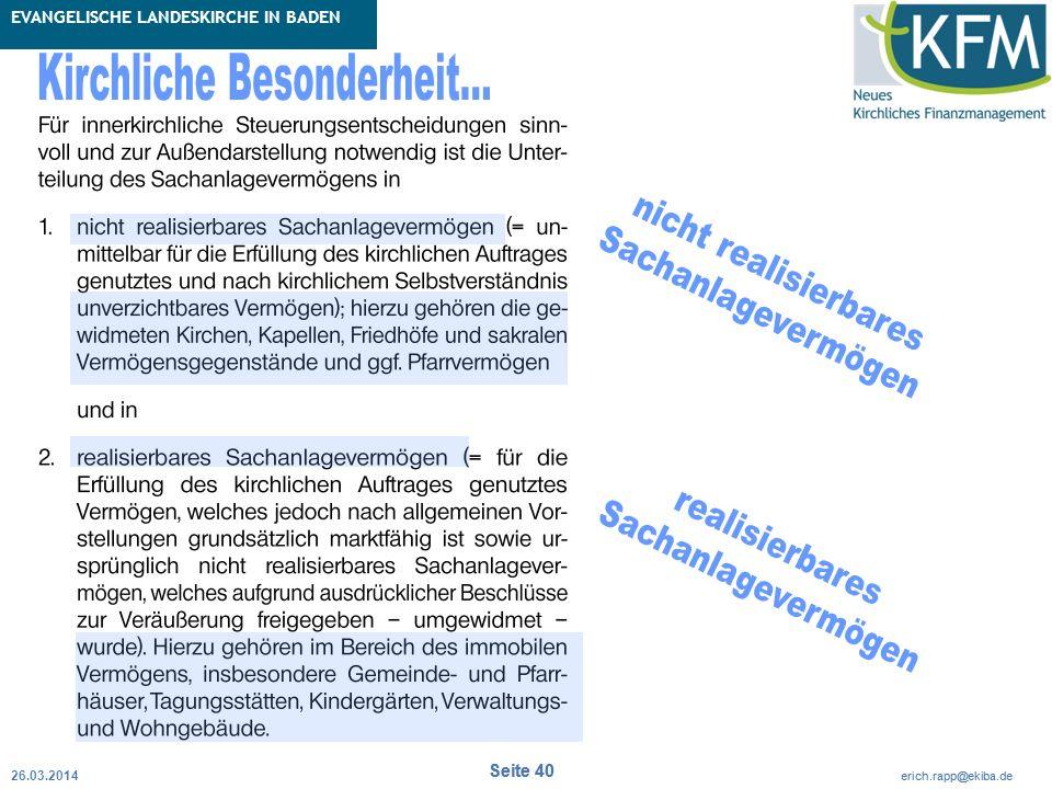 Rubrik / Übergeordnetes Thema Projekt Erweiterte Betriebskameralistik Seite 40 erich.rapp@ekiba.de Rubrik / Übergeordnetes Thema EVANGELISCHE LANDESKIRCHE IN BADEN Seite 40 erich.rapp@ekiba.de 26.03.2014