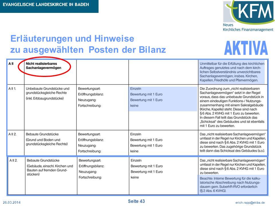 Rubrik / Übergeordnetes Thema Projekt Erweiterte Betriebskameralistik Seite 43 erich.rapp@ekiba.de Rubrik / Übergeordnetes Thema EVANGELISCHE LANDESKI