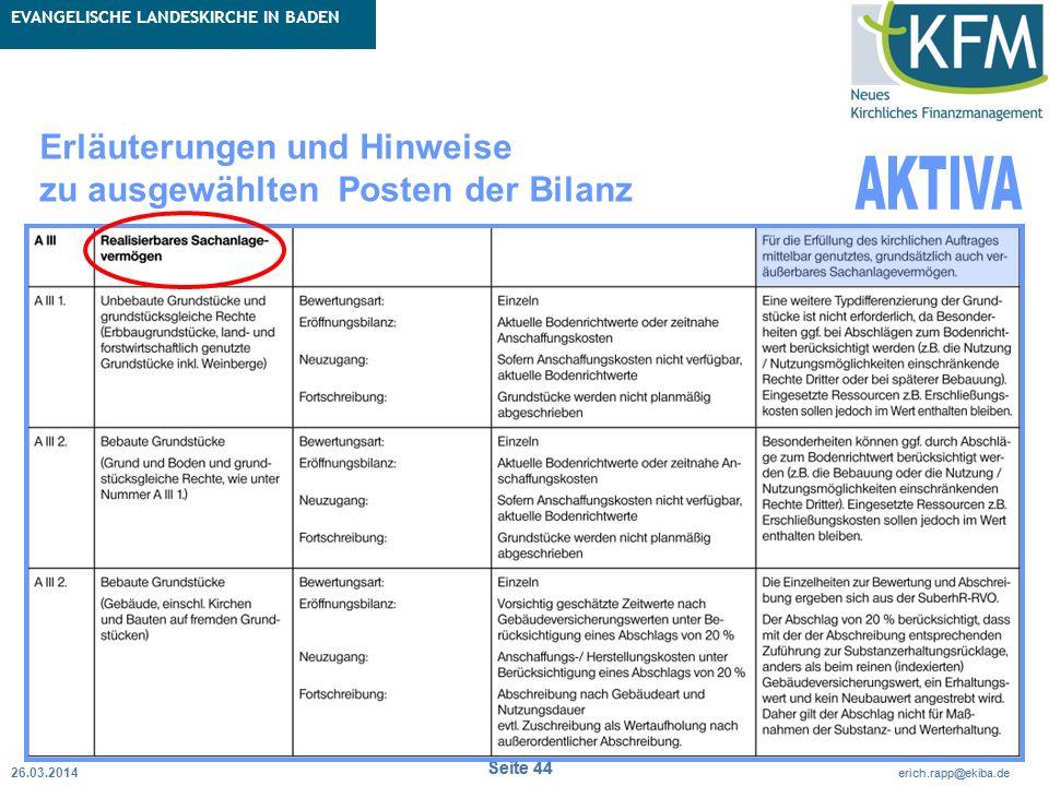 Rubrik / Übergeordnetes Thema Projekt Erweiterte Betriebskameralistik Seite 44 erich.rapp@ekiba.de Rubrik / Übergeordnetes Thema EVANGELISCHE LANDESKI