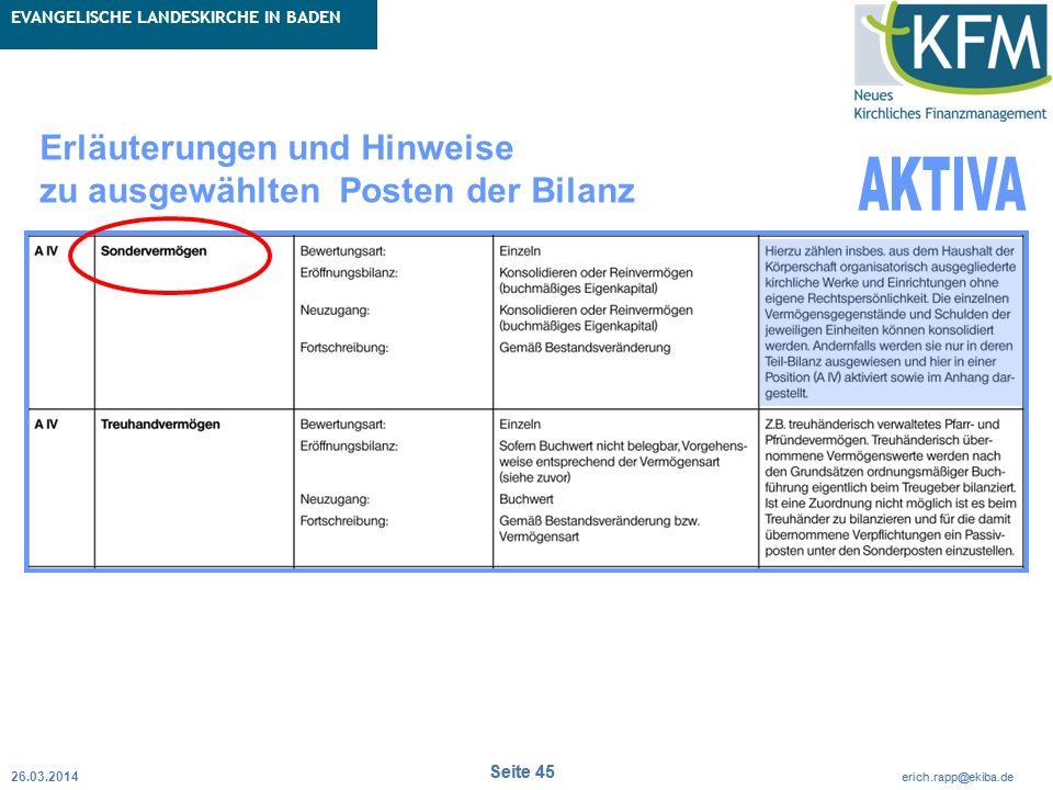 Rubrik / Übergeordnetes Thema Projekt Erweiterte Betriebskameralistik Seite 45 erich.rapp@ekiba.de Rubrik / Übergeordnetes Thema EVANGELISCHE LANDESKI