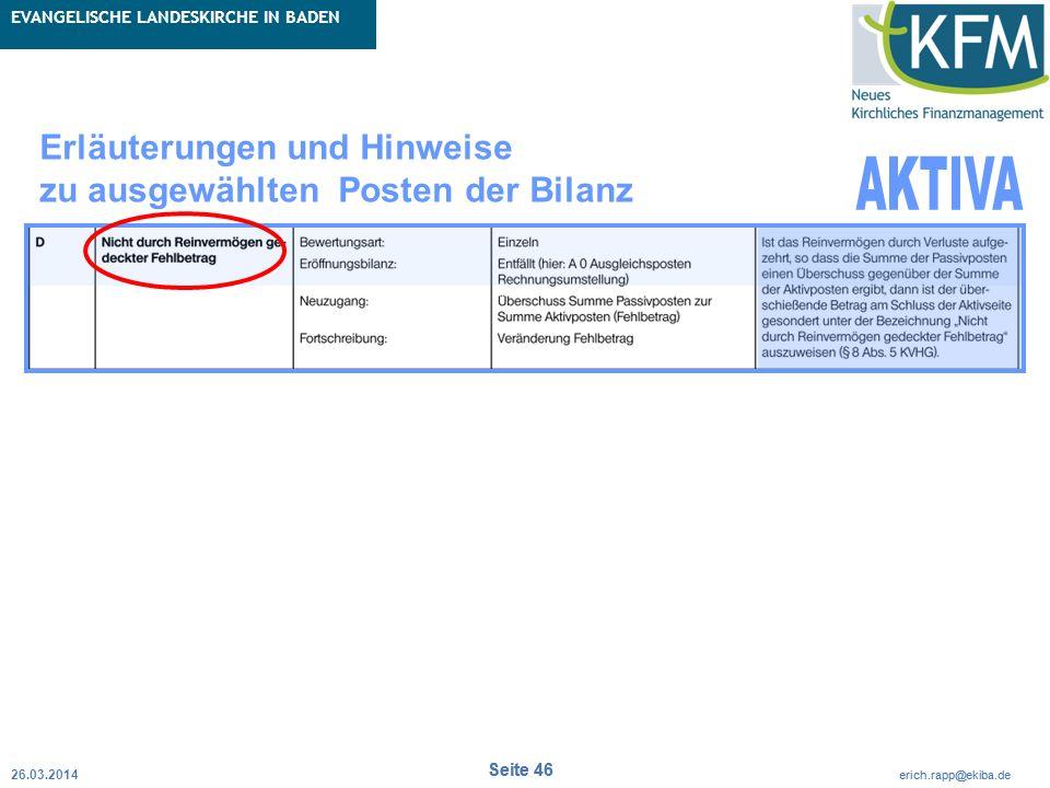 Rubrik / Übergeordnetes Thema Projekt Erweiterte Betriebskameralistik Seite 46 erich.rapp@ekiba.de Rubrik / Übergeordnetes Thema EVANGELISCHE LANDESKI