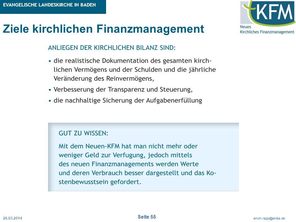 Rubrik / Übergeordnetes Thema Projekt Erweiterte Betriebskameralistik Seite 55 erich.rapp@ekiba.de Rubrik / Übergeordnetes Thema EVANGELISCHE LANDESKI
