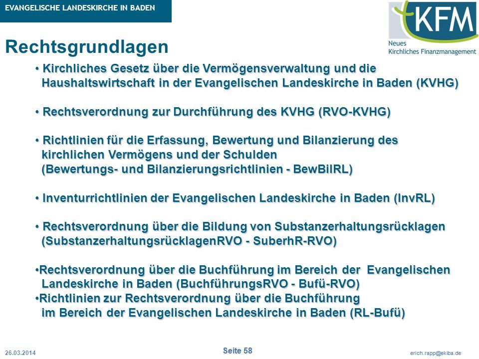 Rubrik / Übergeordnetes Thema Projekt Erweiterte Betriebskameralistik Seite 58 erich.rapp@ekiba.de Rubrik / Übergeordnetes Thema EVANGELISCHE LANDESKI