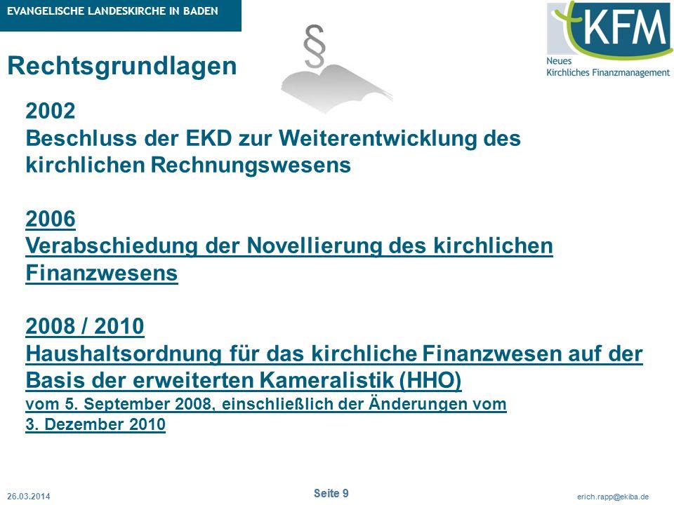 Rubrik / Übergeordnetes Thema Projekt Erweiterte Betriebskameralistik Seite 9 erich.rapp@ekiba.de Rubrik / Übergeordnetes Thema EVANGELISCHE LANDESKIR