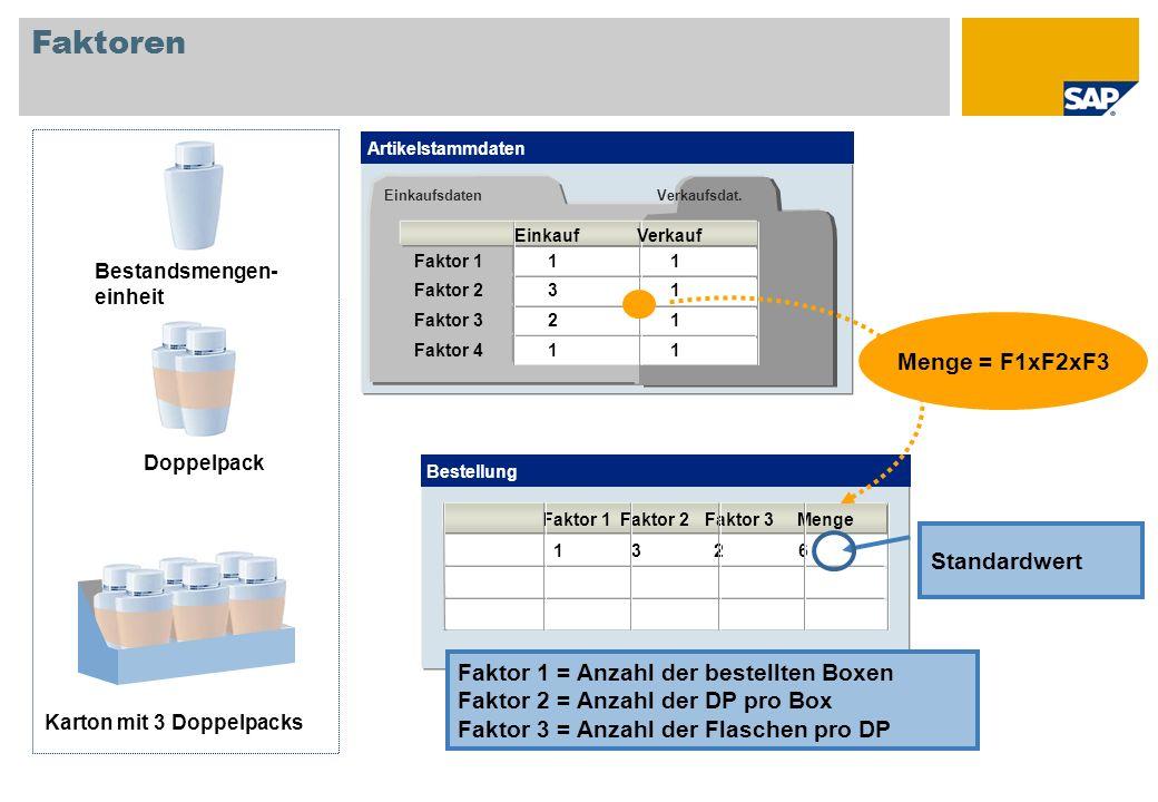 Faktoren Bestandsmengen- einheit Doppelpack Karton mit 3 Doppelpacks Bestellung Faktor 1 Faktor 2 Faktor 3 Menge 13 26 Standardwert Faktor 1 = Anzahl