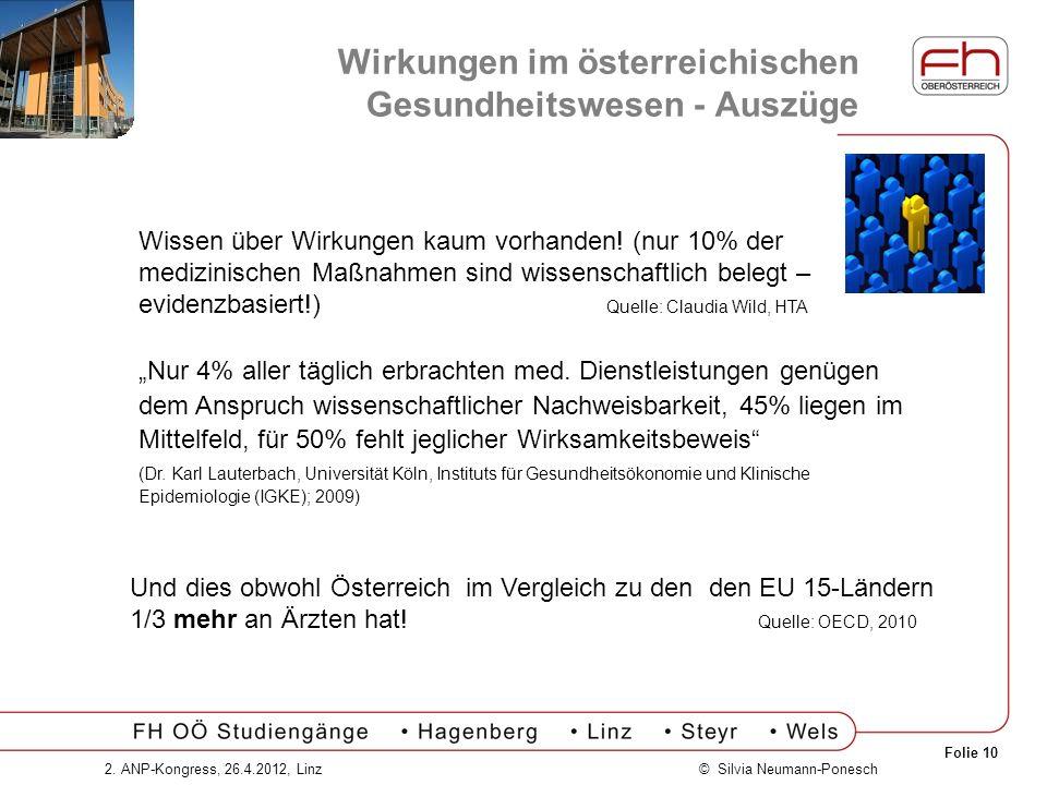 Folie 10 © Silvia Neumann-Ponesch2. ANP-Kongress, 26.4.2012, Linz Wirkungen im österreichischen Gesundheitswesen - Auszüge Wissen über Wirkungen kaum