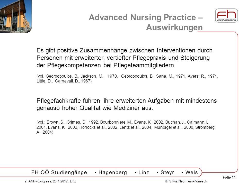 Folie 14 © Silvia Neumann-Ponesch2. ANP-Kongress, 26.4.2012, Linz Advanced Nursing Practice – Auswirkungen Es gibt positive Zusammenhänge zwischen Int