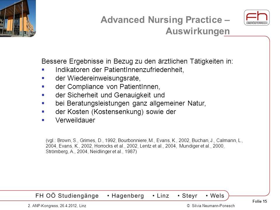 Folie 15 © Silvia Neumann-Ponesch2. ANP-Kongress, 26.4.2012, Linz Advanced Nursing Practice – Auswirkungen Bessere Ergebnisse in Bezug zu den ärztlich