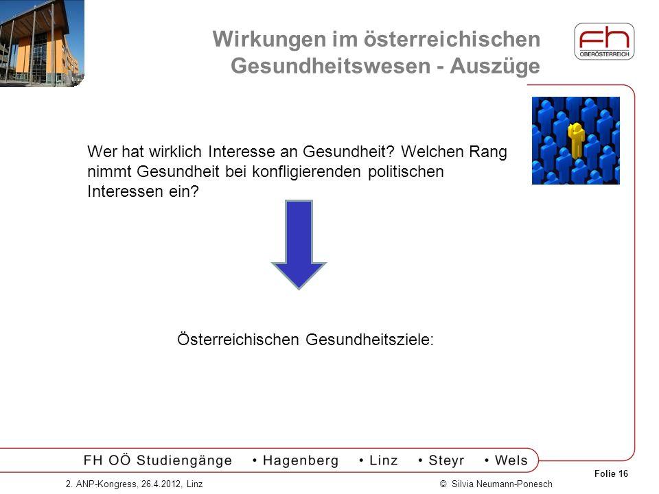 Folie 16 © Silvia Neumann-Ponesch2. ANP-Kongress, 26.4.2012, Linz Wirkungen im österreichischen Gesundheitswesen - Auszüge Wer hat wirklich Interesse