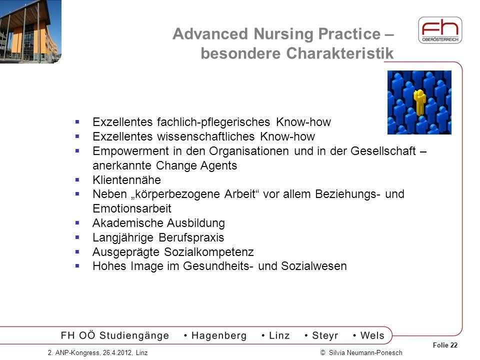 Folie 22 © Silvia Neumann-Ponesch2. ANP-Kongress, 26.4.2012, Linz Advanced Nursing Practice – besondere Charakteristik Exzellentes fachlich-pflegerisc