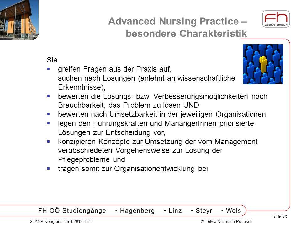 Folie 23 © Silvia Neumann-Ponesch2. ANP-Kongress, 26.4.2012, Linz Advanced Nursing Practice – besondere Charakteristik Sie greifen Fragen aus der Prax