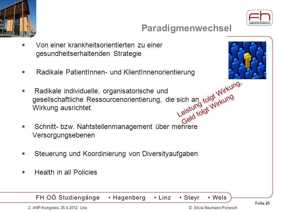 Folie 25 © Silvia Neumann-Ponesch2. ANP-Kongress, 26.4.2012, Linz Paradigmenwechsel Von einer krankheitsorientierten zu einer gesundheitserhaltenden S