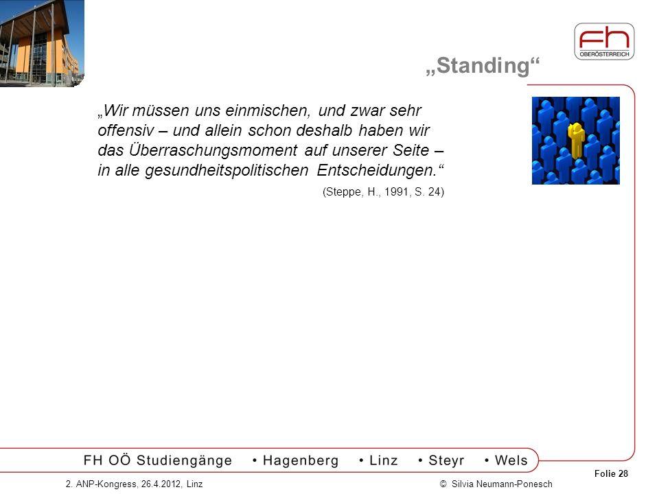 Folie 28 © Silvia Neumann-Ponesch2. ANP-Kongress, 26.4.2012, Linz Standing Wir müssen uns einmischen, und zwar sehr offensiv – und allein schon deshal