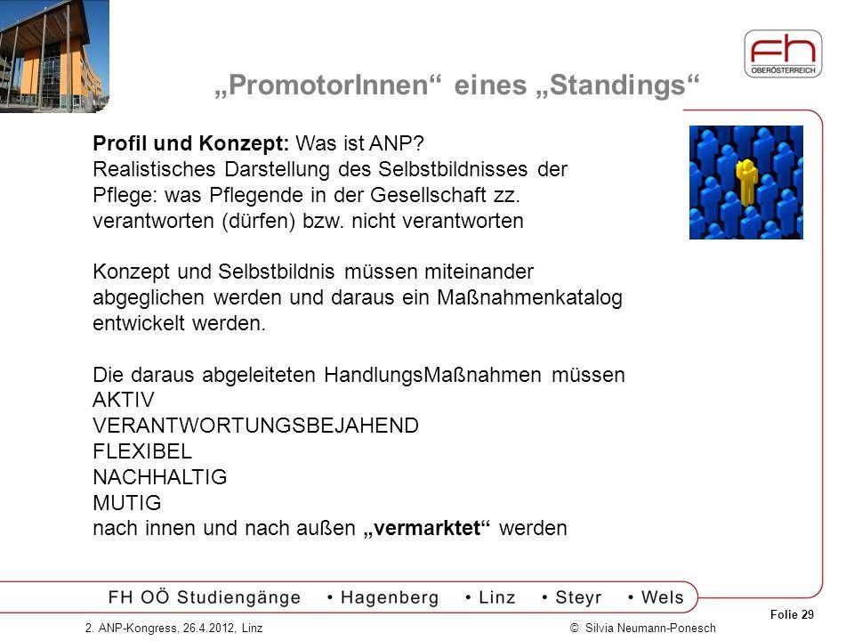 Folie 29 © Silvia Neumann-Ponesch2. ANP-Kongress, 26.4.2012, Linz PromotorInnen eines Standings Profil und Konzept: Was ist ANP? Realistisches Darstel