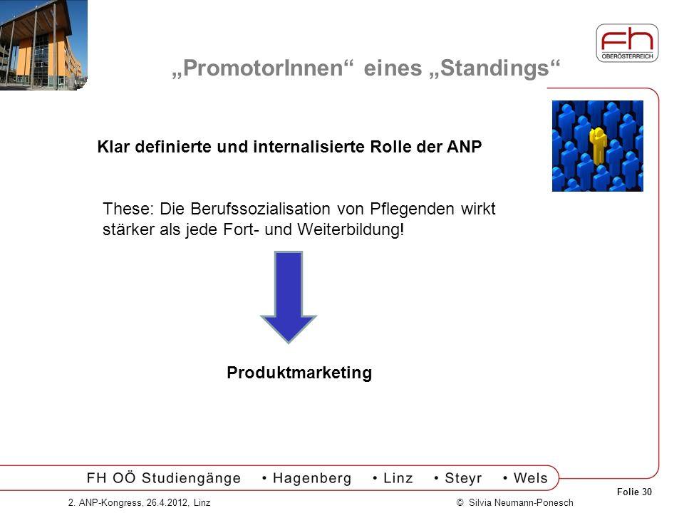 Folie 30 © Silvia Neumann-Ponesch2. ANP-Kongress, 26.4.2012, Linz PromotorInnen eines Standings Klar definierte und internalisierte Rolle der ANP Thes