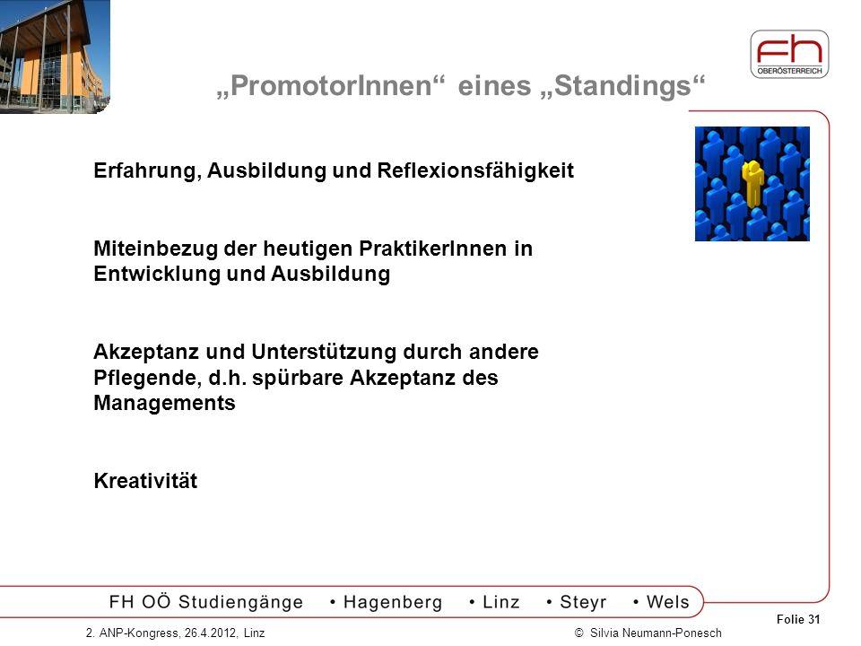 Folie 31 © Silvia Neumann-Ponesch2. ANP-Kongress, 26.4.2012, Linz PromotorInnen eines Standings Erfahrung, Ausbildung und Reflexionsfähigkeit Miteinbe