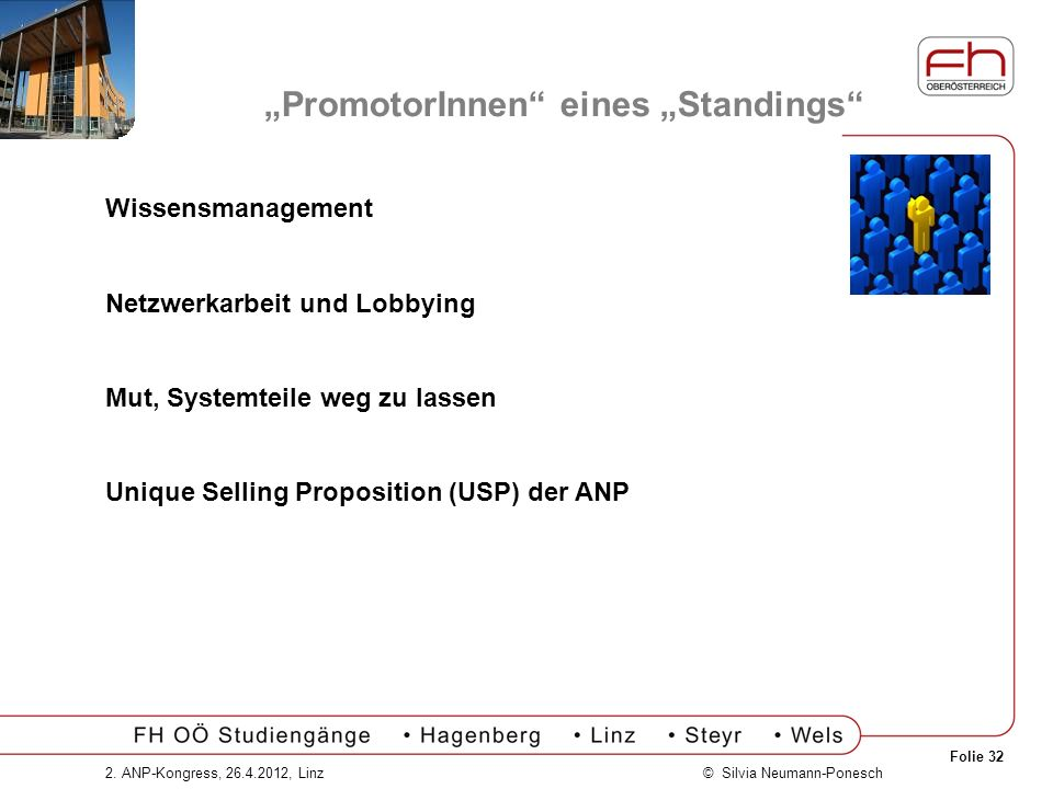 Folie 32 © Silvia Neumann-Ponesch2. ANP-Kongress, 26.4.2012, Linz PromotorInnen eines Standings Wissensmanagement Netzwerkarbeit und Lobbying Mut, Sys