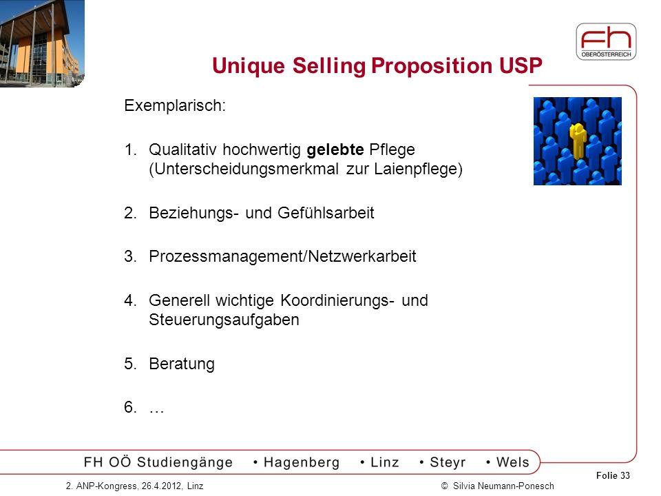 Folie 33 © Silvia Neumann-Ponesch2. ANP-Kongress, 26.4.2012, Linz Unique Selling Proposition USP Exemplarisch: 1.Qualitativ hochwertig gelebte Pflege