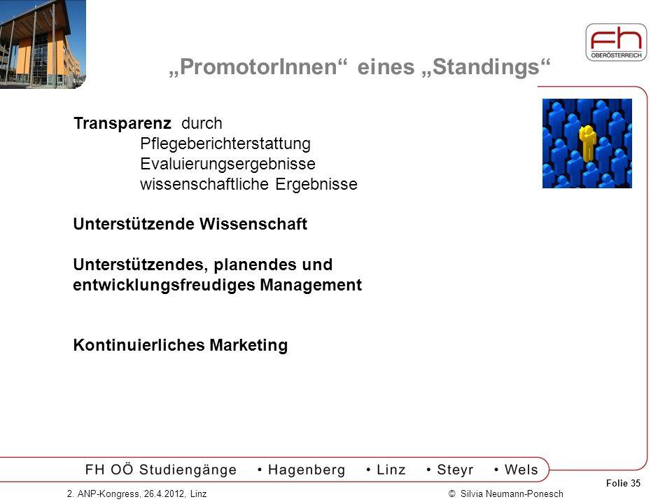 Folie 35 © Silvia Neumann-Ponesch2. ANP-Kongress, 26.4.2012, Linz PromotorInnen eines Standings Transparenz durch Pflegeberichterstattung Evaluierungs