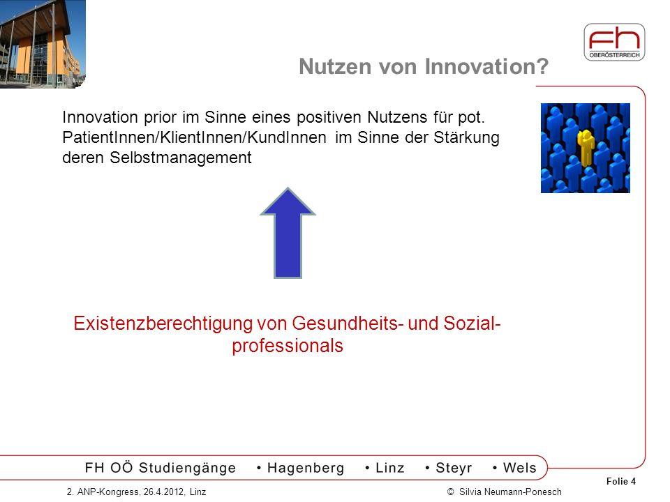 Folie 4 © Silvia Neumann-Ponesch2. ANP-Kongress, 26.4.2012, Linz Nutzen von Innovation? Innovation prior im Sinne eines positiven Nutzens für pot. Pat